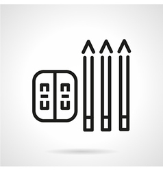 Simple line pencils and sharpener icon vector image