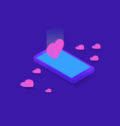 smart phone and hearts on blue background vector image
