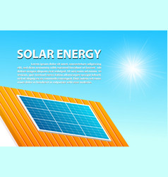Solar panels on rohouse in sunny day with space vector