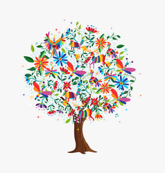 Spring tree concept with color animals and flowers vector