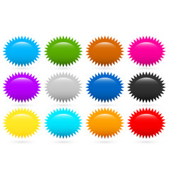 starburst flash shapes in 12 colors vector image
