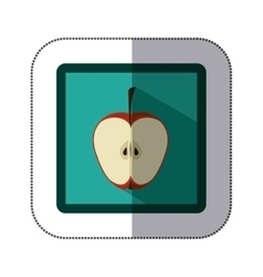 Sticker colorful square with half apple fruit vector