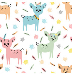 Tribal seamless pattern with cute hand drawn vector