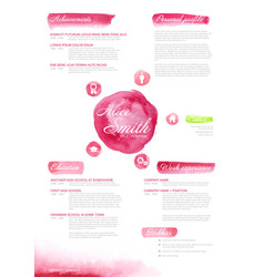 Watercolor original cv resume template for women vector