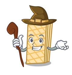 Witch waffle mascot cartoon style vector