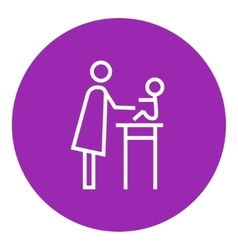 Woman taking care of baby line icon vector
