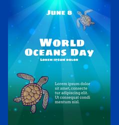 World oceans day june 8 vector
