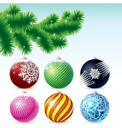 Xmas baubles collection with fir tree branch vector