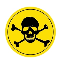 Yellow danger sign with skull Round danger sign vector image