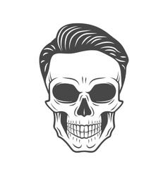 young stylish skull with hipster hair glamour vector image