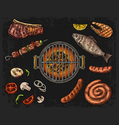 barbecue grill top view with charcoal mushroom vector image vector image