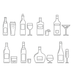 Beverages and drinks thin icons vector image