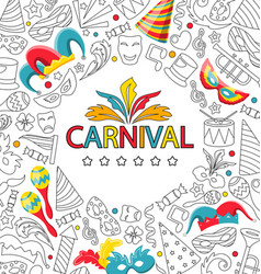 carnival celebration card with hand drawing icon vector image vector image