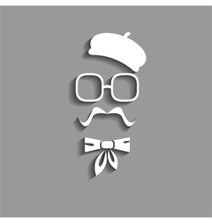 hipster in beret paper silhouette vector image vector image
