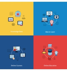Online education icon flat vector image vector image