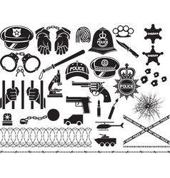 Police icons vector image