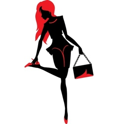 Silhouette of woman with a bag vector image vector image