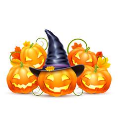 smiling halloween pumpkins vector image