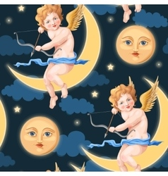 Valentines day seamless with cupid and moon vector image