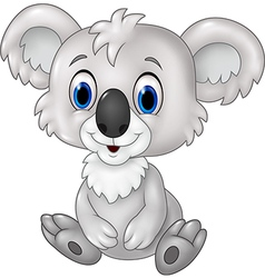 Cute koala sitting isolated on white background vector image vector image
