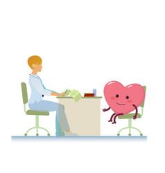 Doctor with healthy cheerful heart symbol cartoon vector