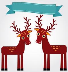 Funny brown deer on a white background Vintage vector image