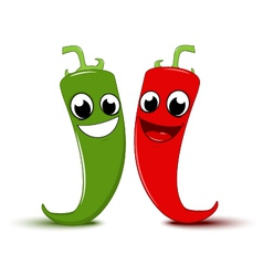Happy Cartoon Red and green chili pepper vector image vector image