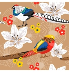 Seamless background with flowers and pheasants vector image vector image