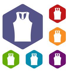 Sleeveless shirt icons set hexagon vector