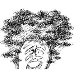 Stressed scared man vector image
