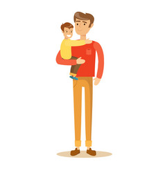 dad holding his son vector image