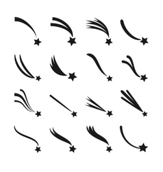 Falling shooting stars meteorites and comets vector image