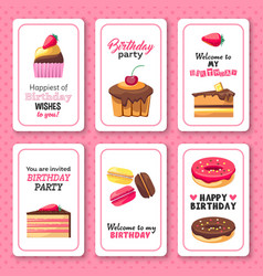 Happy birthday greetings invitation sweet vector image