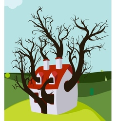 House Tree Grown Inside vector image vector image