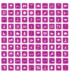 100 bicycle icons set grunge pink vector
