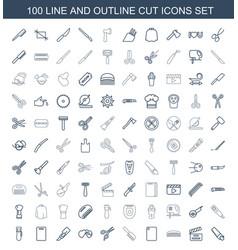 100 cut icons vector