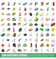 100 history icons set isometric 3d style vector