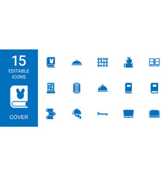 15 cover icons vector image