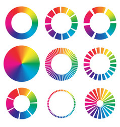 9 different color wheels vector