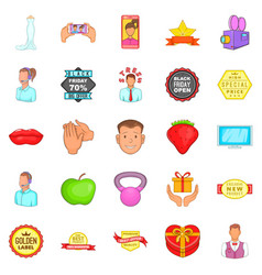 Ad icons set cartoon style vector