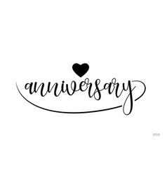 anniversary typography text with love heart vector image