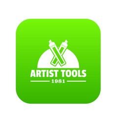 artist tool icon green vector image