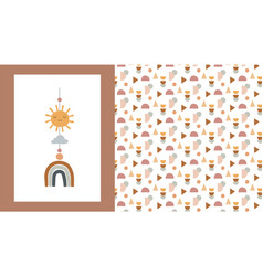 bachildren little kids poster and pattern in vector image