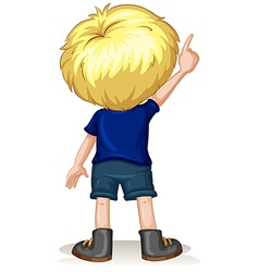 Back of little boy pointing up vector image