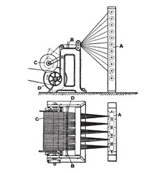 Beam warping machine vintage vector