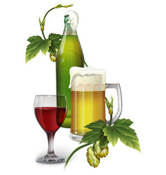 beer mug bottle hops and a glass of wine vector image