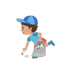 Boy Picking Up Trash vector image