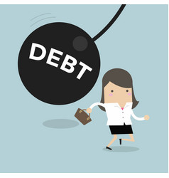 Businesswoman running away from debt pendulum vector