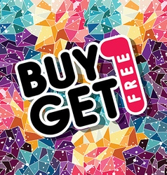 Buy one get free sale promo mosaic vector