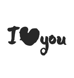 calligraphy lettering i love you with big heart vector image